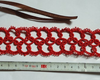"Hand-Tatted Bracelet ""Scarlet"" with Ribbon Clasp"