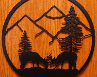 Two Deer Circle Wall Art