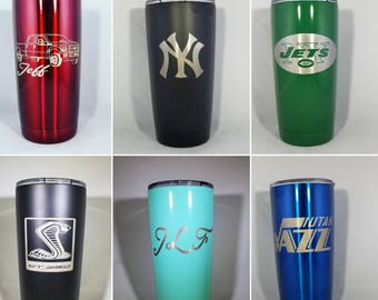 Stainless Steel Tumbler Personalized Thermos Travel Cup Mug Coffee Yeti Rtic  tervis Cooler Custom Gift Travel Mug Cup 20 oz Stainless Steel