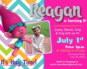 Trolls Poppy Birthday Invitation (Digital Download)
