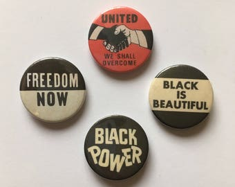 4 Anti-Racist Black Power Pinback Button Badges Vintage Remake Black Lives Matter