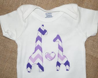 Girls' Purple Chevron Giraffe Love Valentine's Day Shirt or Bodysuit - Multiple Sizes