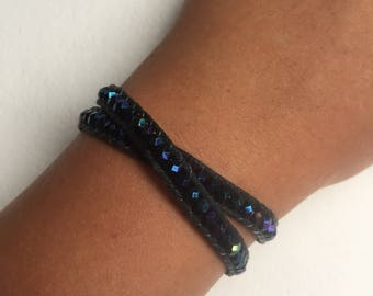 Beaded Leather 2 Wrap Bracelet