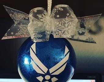 Hand Glittered Air Force Wings Personalized  Glass Ball Ornament