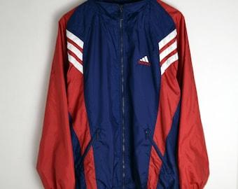 Adidas Windbreaker vintage L 90s windbreaker Adidas Vintage Windbreaker Vintage jacket Adidas jacket 90s jacket 3 stripes Vintage Adidas L