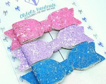 Summer Kisses | Glitter Hair Bows | Nylon Headband | Baby Bow | Toddler Bow | Hair Clips | Hair Accessories |
