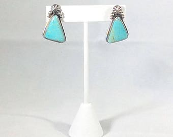 Southwestern Turquoise Sterling Silver Triangle Dangle Earrings Navajo