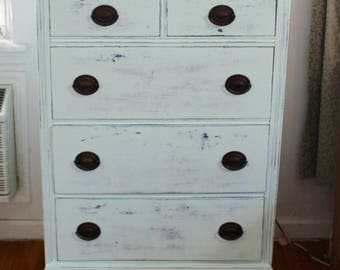 SOLD! Shabby Chic Dresser, antique dresser, distressed dresser, mint green dresser, country cottage chest, hand painted, NYC Free Delivery