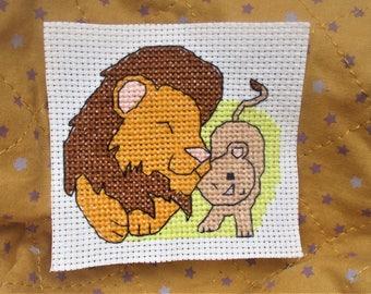 Lion and cub mini cross stitch pattern