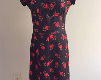 1970's Vintage Cap Sleeved Knit Dress/Black and Red Floral with Copper Pinstripe