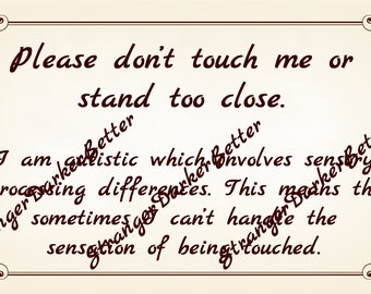 Please Don't Touch Me Communication Card Tan Swirls For Autistic Adults and Teens Digital File