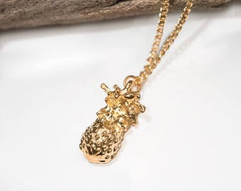 Gold Plated Pineapple Necklace 10% of Purchase Donated to Ocean Conservation