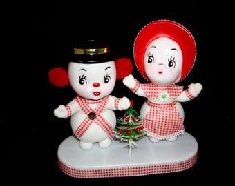 "Vintage 6"" Kitchy Flocked Plastic Blow Mold, Mr and Mrs Snowman, Hong Kong"
