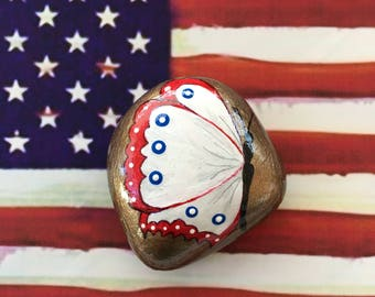Patriotic Butterfly Hand Painted Rock-  Labor Day, Memorial Day, Veterans Day, 4th of July (patrbutter2)
