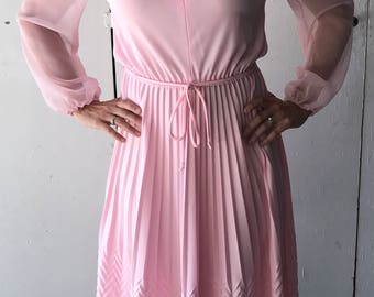 1960's Pleated Dress | Vintage Pink Dress | Pink Dress with Sheer Sleeves | 60s Shirtwaist Dress