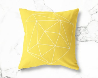 Geometric Mustard Pillow, Square Yellow Pillow, Geometric Pillow, Minimalist Pillow, Mustard Throw Pillow, Decorative Pillow, Yellow Pillow
