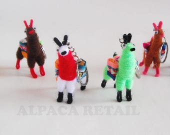 Set of 20 - 25 Tiny Llama Keychain, decoration, gift bag accessories, llama charm bag Andean Collectible Handcrafted Miniature Figurine