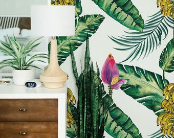 Removable wallpaper - Banana Leaves Wallpaper - Tropical Wallpaper - Leaves Wallpaper - Monstera Leaves - Wall mural - Wall Decor