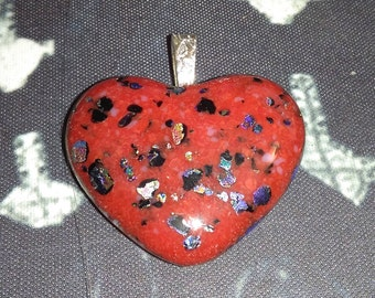 Custom kiln fired glass heart with Dichroic
