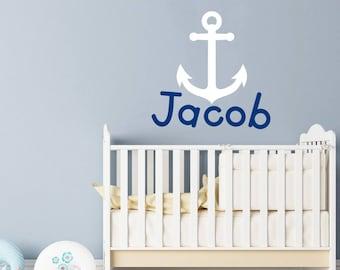 Personalized Anchor Name Wall Decal Wall Sticker Nursery Vinyl Art. Baby Boy Nursery Decor. Anchor Name Boy Children Nursery Wall Decal F18