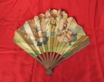 Eventail publicitaire ancien illustré, parfumerie L.T. Piver pour le parfum Gao, old paper advertising fan