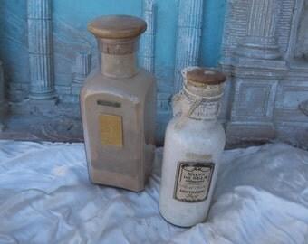 2 grands flacons parfumerie Lenthéric, bains de sel Américains et Ambre mousse, old collection perfume bottles, vecchie bottiglie di profumo