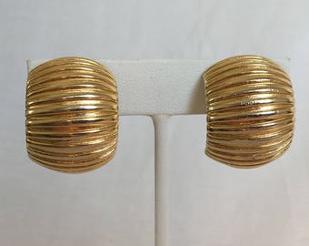Givenchy Paris New York Half Hoop Earrings, Wide Hoops, Gold Tone, Ridged, Clip On, Vintage, 1970s