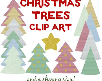 CHRISTMAS TREES Clipart. Red. Green. Blue. Silver. Gold. Snowy Green.  Gold Glitter Star.
