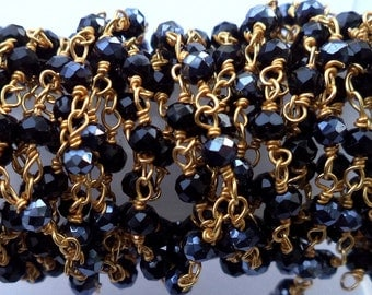 10 Foot Wholesale Offer Pyrtie Gold Plated Beaded Rosary Chain - Rondelle Faceted - Beaded Chain -3 - 4 mm Beads - Jewelry Chain (CHN1015)