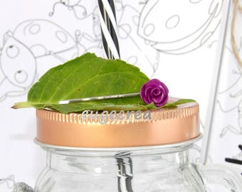 Flat Barrette with a purple rose