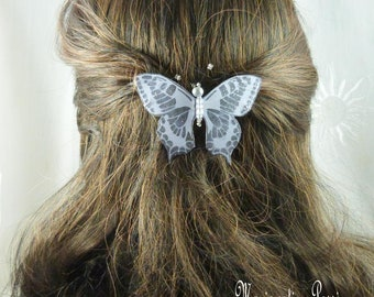 French 6 cm grey silk sequined Butterfly Barrette, White Pearl body, Maeva collection romantic hair spring, made in France