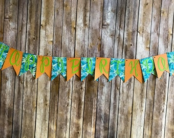 Happy Birthday Banner- Tropical Teal, Green and Orange Hibiscus Floral