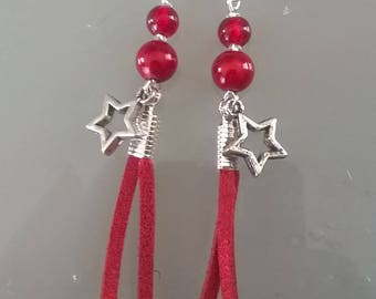 Red suede earring