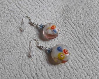White millefiori - KBO781 marbled glass earrings