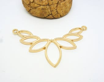 1 connector chest 57 * 38mm, gold (8SCD36) lotus flower