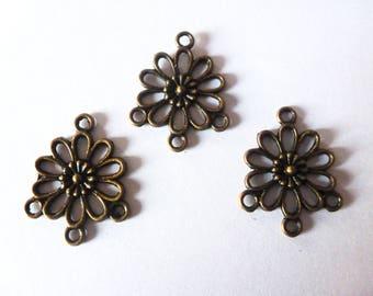 4 candlesticks - flower connector - 22 * 18mm bronze metal