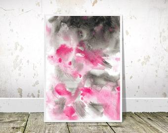 Pink Grey Abstract art, PRINTABLE Art, Pink Gray Painting Print, Watercolor Art, Abstract Print, Modern Wall Art, abstract decor, minimalist
