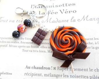 Bag charm key lollipop orange brown and clay polymer