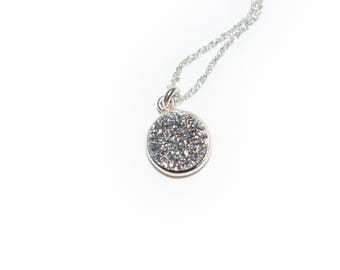 """DRUZY Faux Silver Tiny Sterling Silver 925 Dainty Small Necklace 18"""" Chain"""