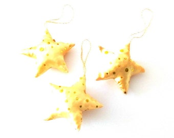 Set of 3 ornaments gold sequined stars - Christmas tree ornaments - fabric