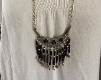 ethnic necklace silver and black beads
