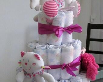 Pink for girl cat diaper cake