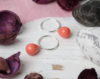 Peach Pearl and Sterling Silver Earrings