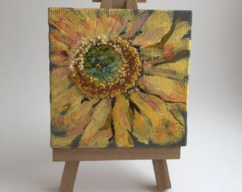 Smiling Summer Sunflower - Embroidery On Canvas - Miniature Art