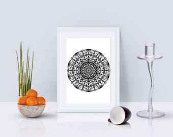 Digital black mandala on white background, drawing, downloadable print, fun for backgrounds and cards