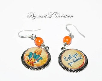 "Retro earrings customized ""who's who decides?"""