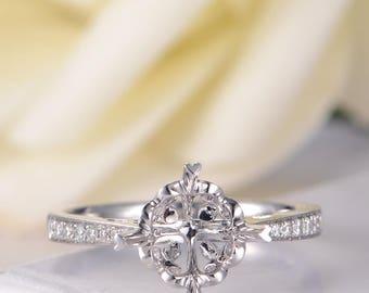 Art Deco Engagement Ring White Gold Semi Mount Ring Setting Antique Retro Bridal Ring Anniversary Promise Half Eternity Women Wedding Ring