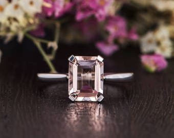 Emerald Cut Morganite Engagement Ring White Gold Solitaire Ring Unique Prongs Plain Band Woman Antique Custom Promise Bridal Gift for Her
