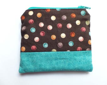 Fabric Coin Purse, Brown and Turquoise, Cards Case, Make Up Pouch, Coupon Holder, Small Necessities Bag, Zippered and Fully Lined