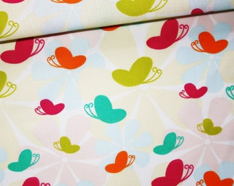 Butterflies, 100% cotton fabric printed 50 x 160 cm, butterfly, colorful floral background